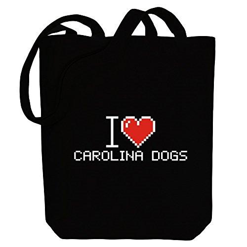 De Lona Carolina Pixelado Idakoos Perros Perros Bolsos Amo UxcfRqO
