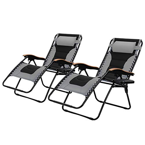 PHI VILLA Oversize XL Padded Zero Gravity Lounge Chairs Adjustable Recliner with Cup Holders Support 350lbs, 2 Pack Grey