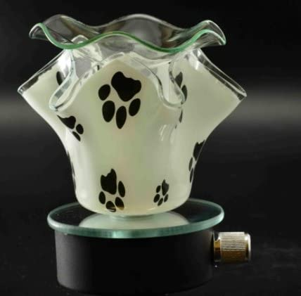 Navillus – New Dalmatian, Dots, night Light Plug-in – Flower Shape, Beautiful design, oil warmer with dimmer in Black and white Paws