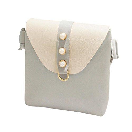 SHL Women Patchwork Pearl Cover Crossbody Bag Shoulder Bag Phone Coin Bag Handbag Envelope Bag (Gray)