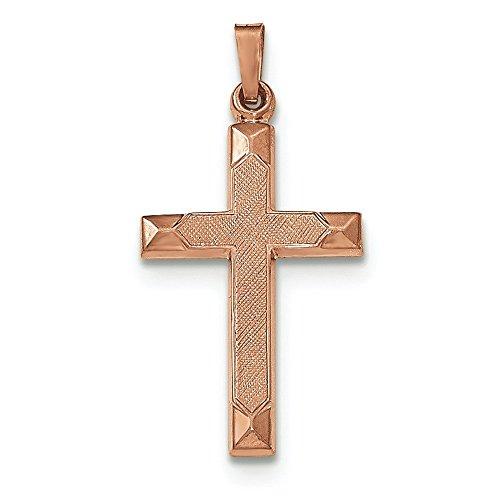 Open-Center poli 14 carats Or Pendentif croix-JewelryWeb