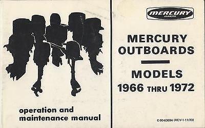 1966-1972 MERCURY OUTBOARD C-90-63094 OPERATION & MAINTENANCE MANUAL (950)