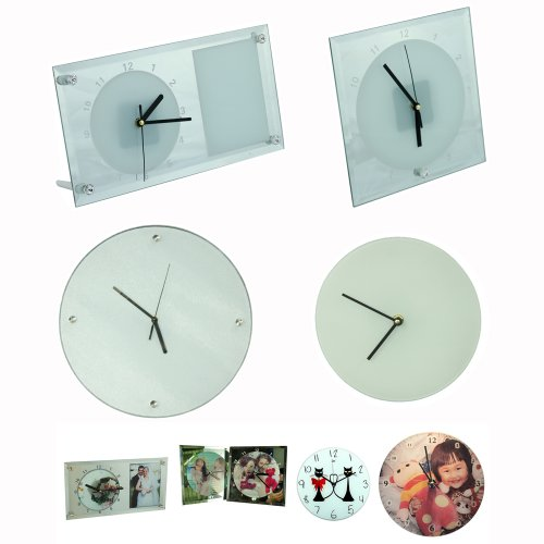 4Pcs Blank Sublimation Glass Clock Blank Clock