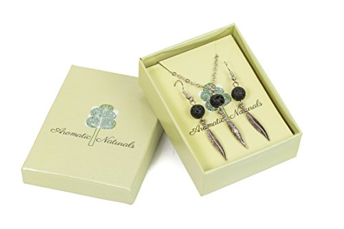 (Aromatic Naturals Essential Oil Diffuser Necklace and earring set – Aromatherapy Jewelry – Stainless Steel – Necklace and Earring gift box set – Hypoallergenic and safe to use – Stone Bead Pendant)