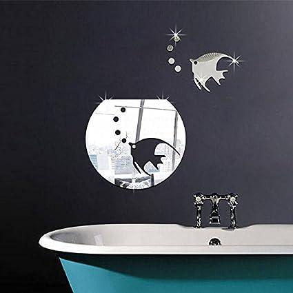 Pegatina pared vinilo decorativo acrilico efecto espejo peces plateados y pecera para cuartos de baño WC