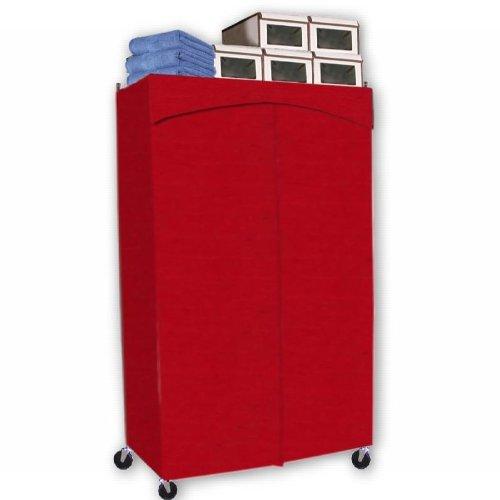 ClarUSA Premium Wardrobe Portable Closet Full Rod w/ 3 Shelves (Rack & Cover) 18x48x72H Red