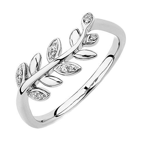 White Gold 1/20 Ct TDW Round Cut Natural Diamond Olive Leaf Fashion Ring HI I2 (8.5) (Tdw Diamond Leaf Ring)
