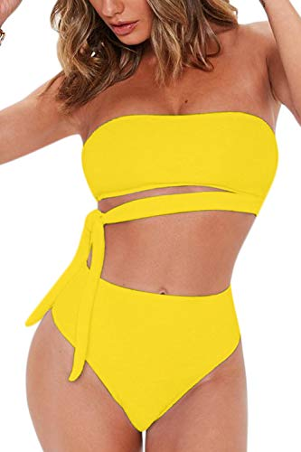 (FAFOFA Ladies High Waisted 2PCS Beachwear Plus Size Bandeau Tie Waist Strappy Bandage Bikini Set Outfit XL Yellow)