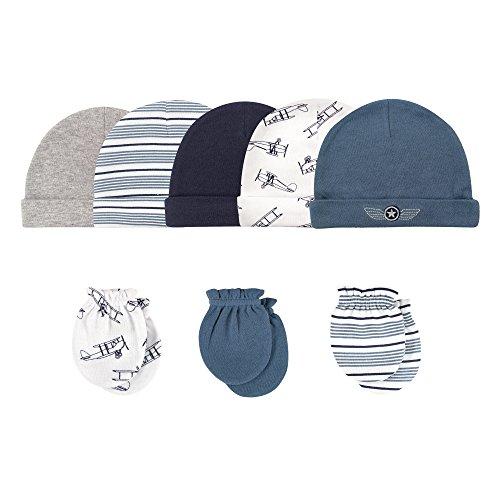 Hudson Baby Infant Cotton Cap and Scratch Mitten Set, Aviator 8 Pack, 0-6 Months