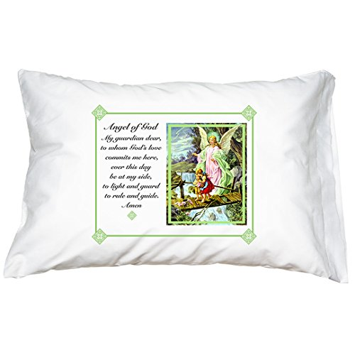 Traditional Guardian Angel Prayer Pillowcase ()