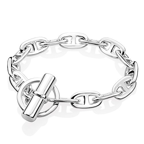 Autumn Enchanted Women 925 Sterling Silver Bracelet 10 mm Wide Anchor Chain Style (7.5 In.) by Autumn Enchanted