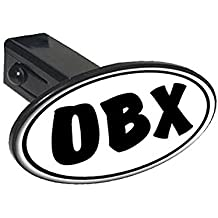"""Graphics and More OBX Euro Oval - Outer Banks NC North Carolina - 1 1/4 inch (1.25"""") Tow Trailer Hitch Cover Plug Insert"""