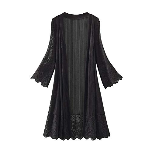 HIRIRI Women's Long WaterfallCardigan Open Front Drape Lightweight Long Sleeve Flare Lace Shirts Smock Black (Drapes Bamboo)