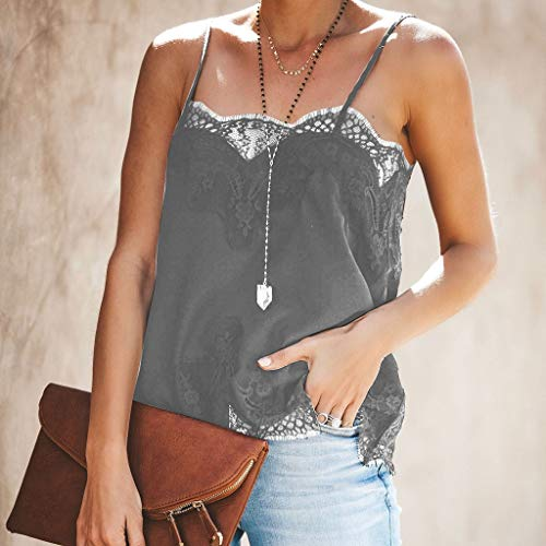 NUWFOR Fashion Women Strappy Vest Top Sleeveless Lace Patchwork Blouse Casual Tank Gray by NUWFOR (Image #1)