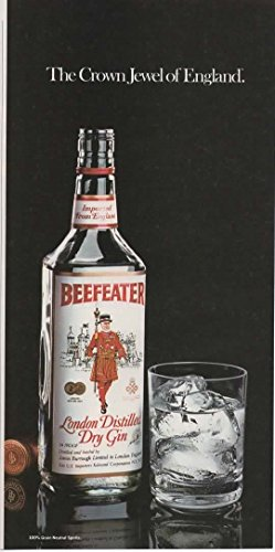 """Magazine Print Ad: 1982 Beefeater London Distilled Dry Gin,""""The Crown Jewel of England"""" (NOT AN OFFER FOR BOTTLE OF ALCOHOL)"""