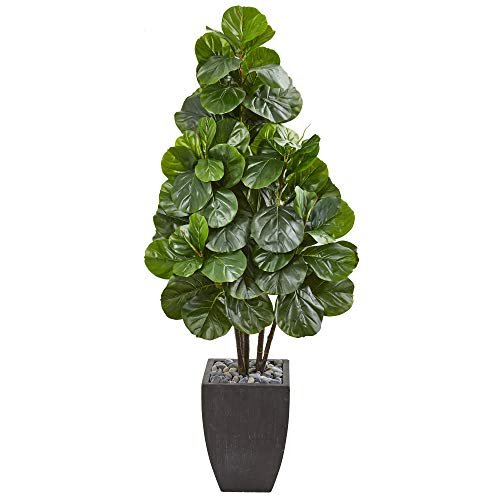 Nearly Natural 9384 63-in. Fiddle Leaf Fig Artificial Black Planter Silk Trees, - Silk Trees Fig