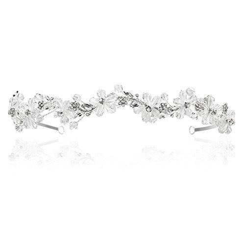 Handmade Crystal Beads Flower Pattern Bridal Headband Tiara T1005