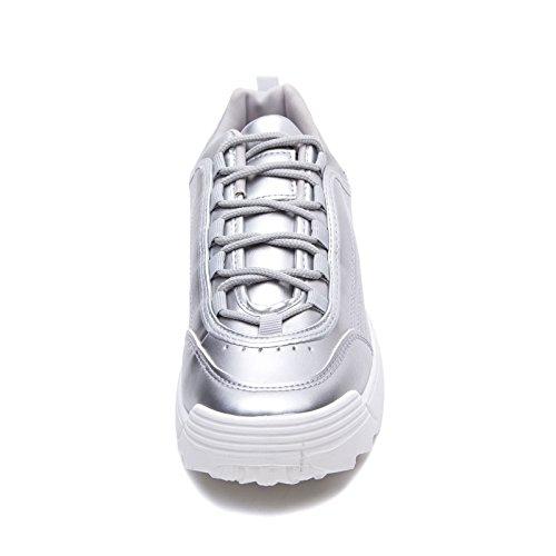 h811 Scarpe Argento para Ginnastica da Lucida Eco Stringate Sneakers MForshop Lacci Pelle Donna Pg7qwgx