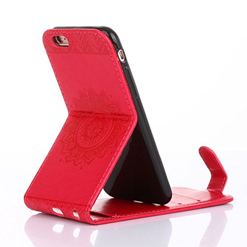 Für Apple iPhone 6 (4,7 Zoll) Tasche ZeWoo® Ledertasche Kunstleder Brieftasche Hülle PU Leder Schutzhülle Case Cover - GH011 / Rote