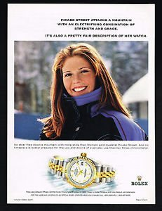 **PRINT AD** With Skier Picabo Street For 2000 Rolex Datejust Two Tone Watches **PRINT AD**