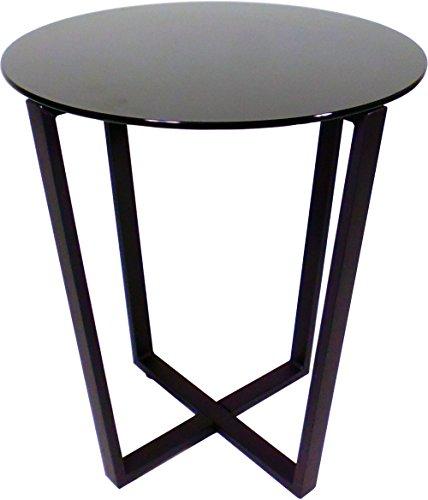 Mango Steam Metro Glass End Table - Black Top/Black Base