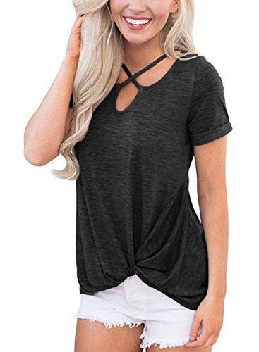 JunJunBag Womens Criss Cross Casual Loose Short Sleeve T-Shirt Tops