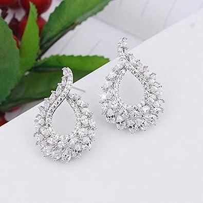 Elegantes y elegantes pendientes de piedra azul para mujeres pendientes de alta calidad Cz piercing joyería hoja pendiente de moda