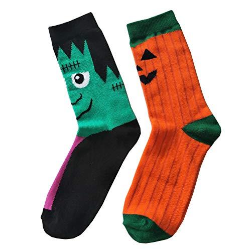 HONROY Men's Novlety Funny Crazy Pumpkins Bats Patterned Casual Crew Socks 2 Pack (Pumpkin Socks)