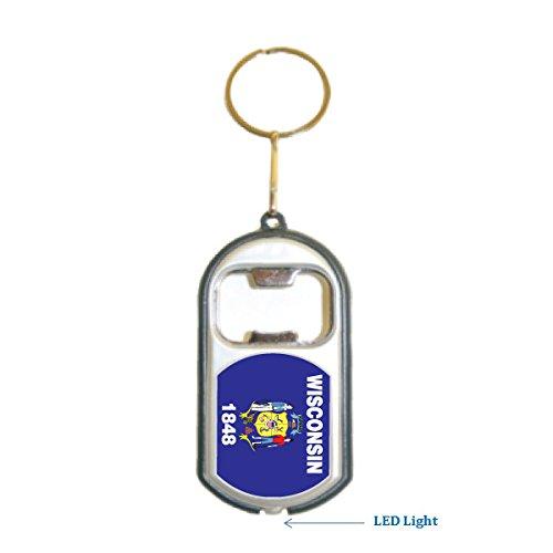 Wisconsin USA State 3 in 1 Bottle Opener LED Light KeyChain KeyRing Holder