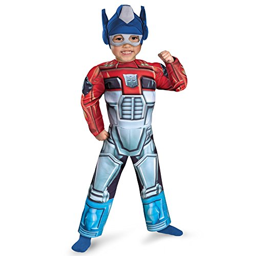 Optimus Prime Rescue Bot Toddler Muscle Costume, Red/Blue, 3T-4T