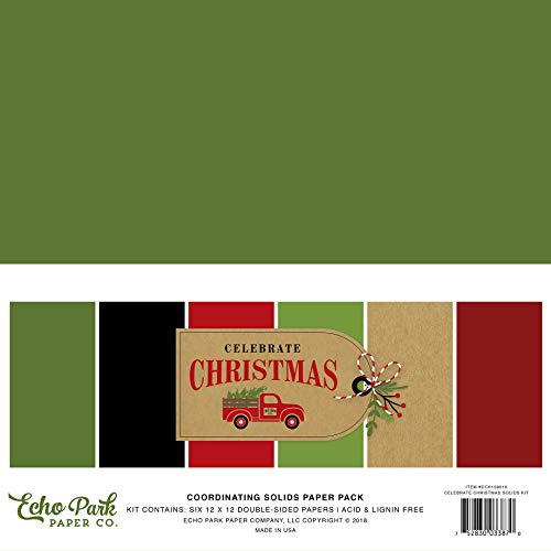 Echo Park Paper Company CCH159015 Celebrate Christmas Solids Kit Paper 12-x-12-Inch Red/Green/Tan/Burlap/Black]()