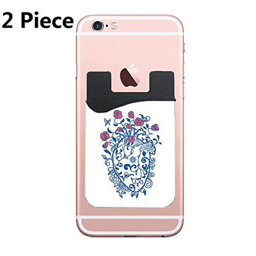 Phone Pockets/Peel-and-Stick Card and Credit Card Holder Wallet for All Phones & Cases - iPhone/Galaxy and More (Porcelain Heart) - 2 Piece ()