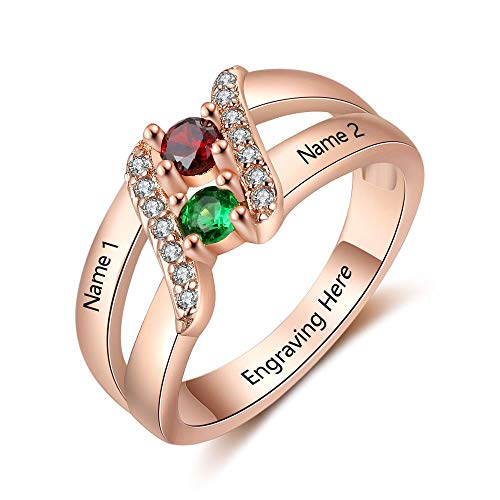 Lam Hub Fong Personalized Mothers Rings with 2 Simulated Birthstones Engravable Couples Promise Engagement Rings Rose Gold ()