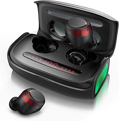 无线耳塞,蓝牙耳机 5.0 带 CVC 8.0 降噪,高通科技立体声入耳式耳机,IPX7 防水,TWS 内置麦克风耳机,150 小时播放时间。