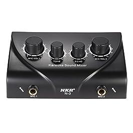 ammoon Karaoke Sound Mixer Dual Mic Inputs With Cable
