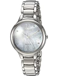 Citizen Womens Eco-Drive Quartz Stainless Steel Casual Watch, Color:Silver-Toned (Model: EM0550-59D)