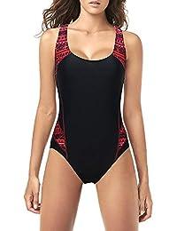 Qiaoer Athletic Bathing Suit Women's Raceback Splice One Piece Swimsuit