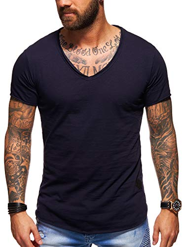 behype. Men's Basic V-Neck Casual Fashion Hipster T-Shirt Muscle Longline Tee Casual Premium Top D-1702 (XL,Navy) ()