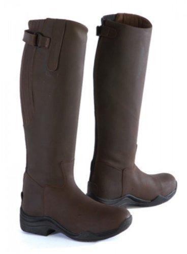 Toggi Calgary Bottes d'équitation hautes en cuir avec fermeture Éclair intégrale, Jambe large Marron Cheeco, Taille: EU 39 (5.5)