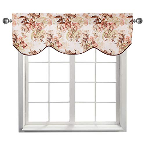 (Home Queen Faux Linen Classical Print Curtain Valance Window Treatment for Living Room, Short Straight Drape Traditional Style Valance, Set of 1, 54 X 18 Inch, Peonies)