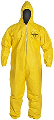 DuPont Tychem QC Protective Fabric Coverall with Hood and Safety Instructions, Elastic Cuff, Yellow (Retail Pa