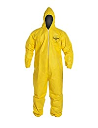 DuPont QC127S Tychem Coverall with Hood, Disposable, Elastic Cuff, Yellow, 2XL