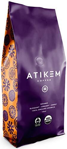 ATIKEM Organic Ethiopian Sidamo Coffee Ground, Creamy Medium Roast, 100% Premium Arabica Coffee, USDA Organic Fairtrade Certified Coffee (12 ounce)