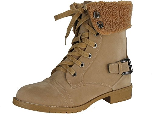 Top Moda Women's Al-5 Military Combat Boots With Faux Lining,Beige,8 (Womens Military Boots)