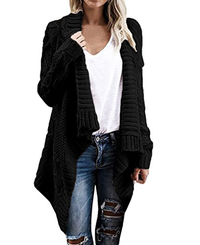 Bigyonger Women's Long Sleeve Button Wrap Open Front Cable Knit Sweater Shawl Cardigans (Medium, Black) (Womens Black Cable)