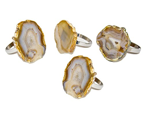 Godinger Silver Art Agate Napkin Rings - Natural, Set of 4