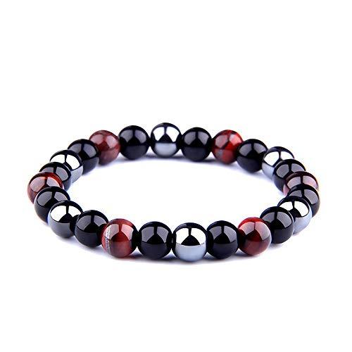 NDJqer Natural Black Obsidian Hematite Tiger Eye Beads Bracelets Men for Magnetic Women Jewelry,Antique Copper Plated,17Cm