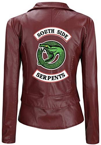 Manteau Pull Riverdale Ado Serpent Rouge Cuir O Moto Femme Gilet Chic Court vin Side a 2 Silverbasic Blouson Fourrure Fille South wmvNn08