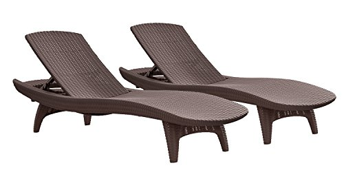 Keter Pacific 2 Pack All Weather Adjustable Outdoor Patio Chaise Lounge  Furniture, Brown