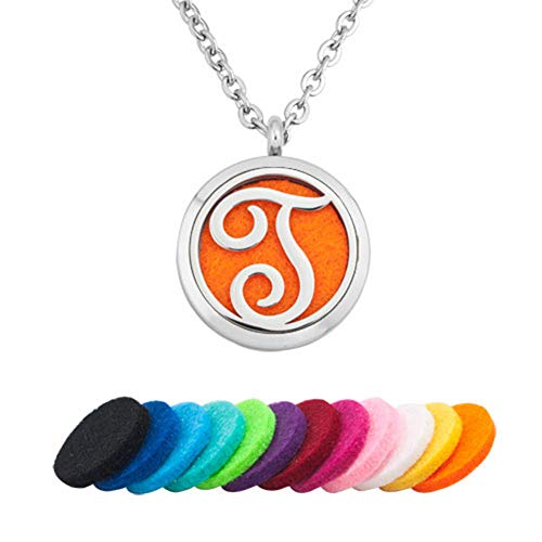 - EV.YI Jewels Name Monogram T Perfume Locket Pendant Best Diffuser Necklace for Essential Oil Aromatherapy Jewelry for Women Men with Refill Pads